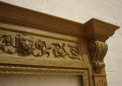 hand-carved fireplace surround