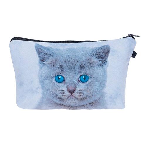 Grijze kat met blauwe ogen - etui
