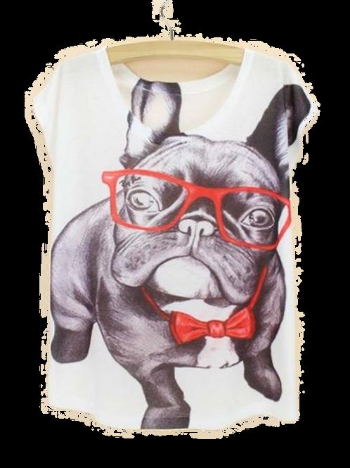 Bulldog met bril t-shirt