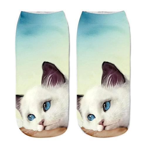 Kat met blauwe ogen print sokken