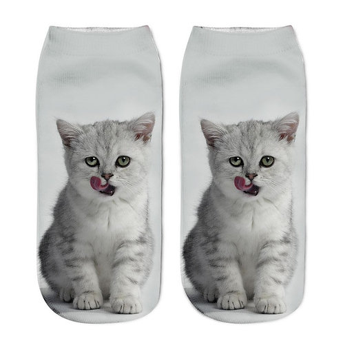 Grijze kitten print sokken