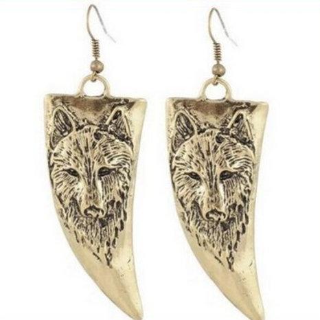 Wolf retro oorbellen