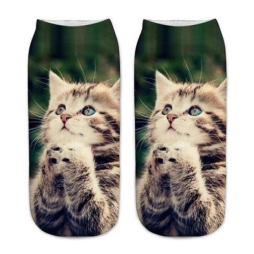 Kat bidt print sokken