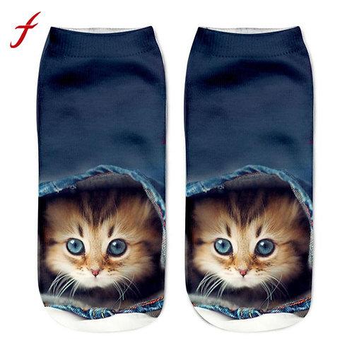 Kitten print blauwe sokken