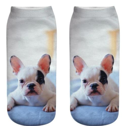 Sokken met Franse Bulldog puppy print