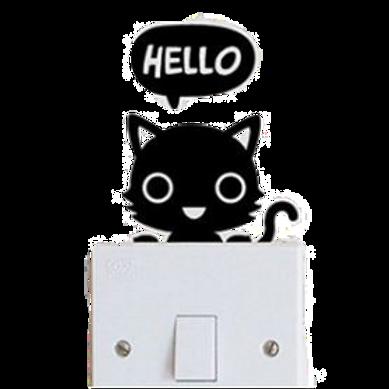 Zwarte kat schakelaar stikker