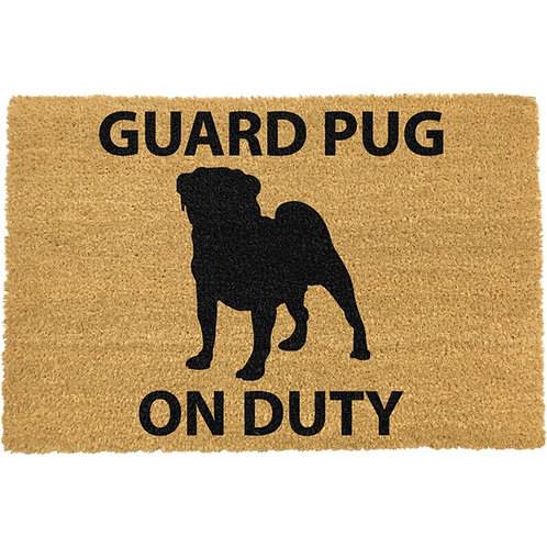 Mops deurmat - Guard Pug on duty