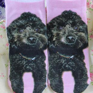 Zwarte Poedel print sokken