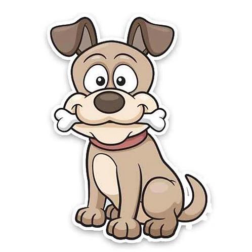 Leuke hond met bot auto sticker