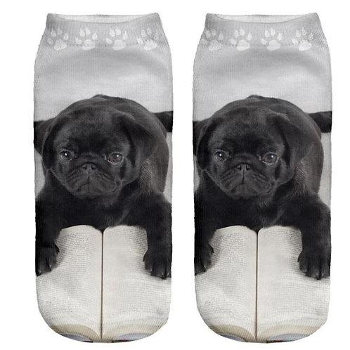 Zwarte mops pup print sokken