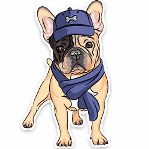 Franse Bulldog met sjaal auto sticker