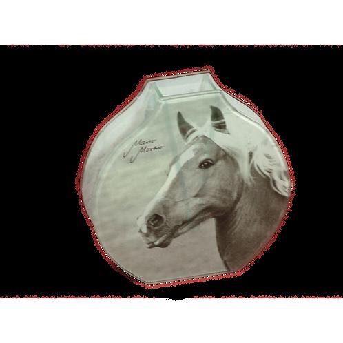 Retro glazen vaas Haflinger met paard motief