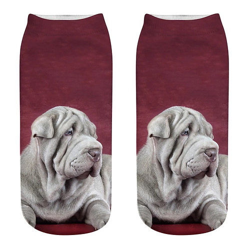 Grijze Shar-pei print sokken