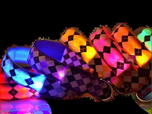 LED hondenhalsband ruitpatroon