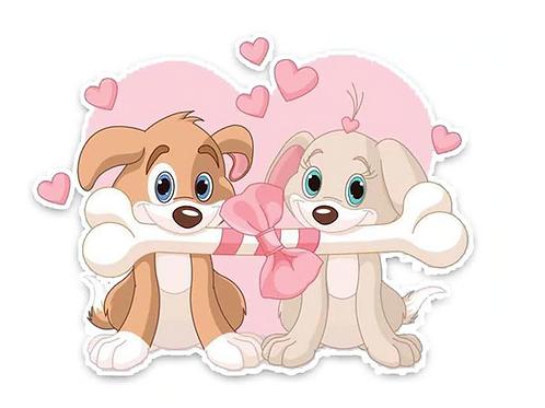 Leuke honden met bot auto sticker