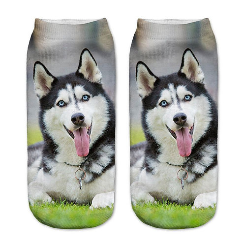Husky print sokken