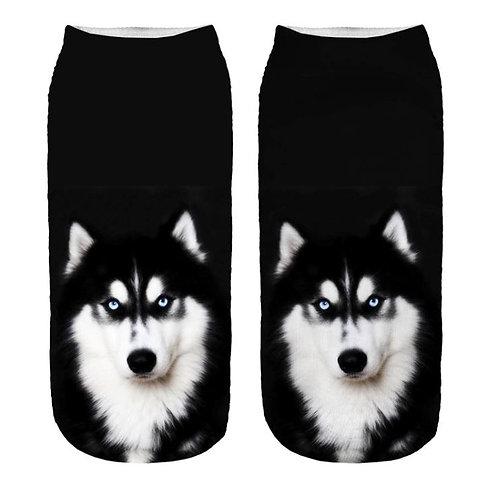Husky print sokken - zwart