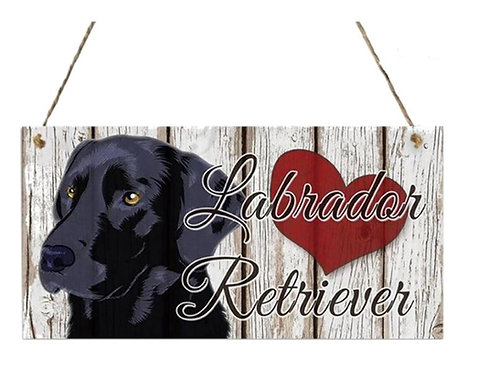 Houten hangbordje - Labrador Retriever - zwart