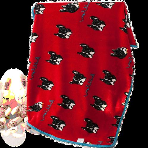 FleeceFleece deken met Franse Bulldog print deken met Franse Bulldog print