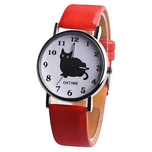 Horloge met zwarte kat print