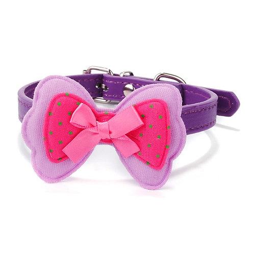 Kunstleer halsband met met triple vlinderdas - voor kleine honden