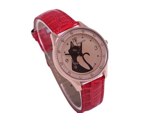 Horloge met kat afbeelding (silhouet)
