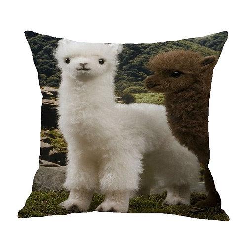 Witte alpaca print kussenhoes