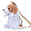 Thumbnail: Zittende hond rugzak - wit met bruine oren