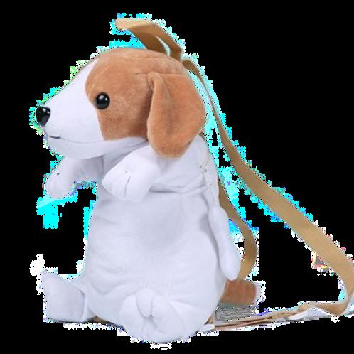 Zittende hond rugzak - wit met bruine oren