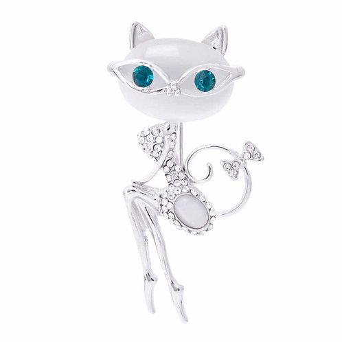 Kat met turquoise ogen broche