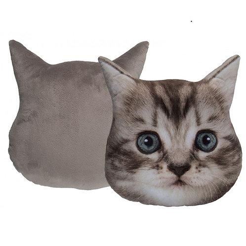 Pluche kussen - Grijze kat gezicht
