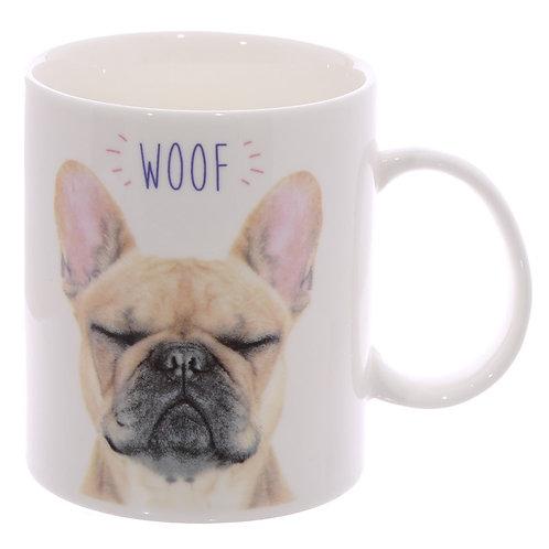 WOOF Franse Bulldog Porselein Mok