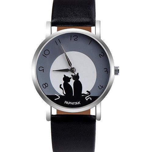 Horloge met 2 zwarte katjes afbeelding