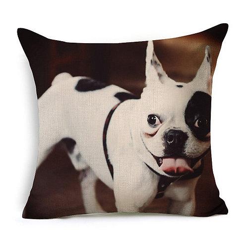 Witte franse bulldog print kussenhoes