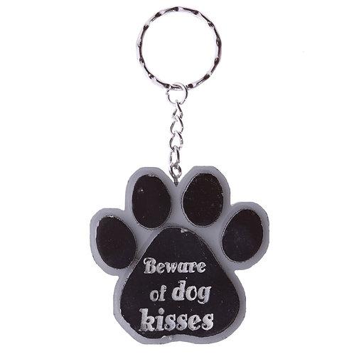 Dierenliefhebber sleutelhanger in tasje - Beware of dogs kisses