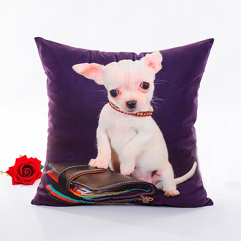 Witte chihuahua print kussenhoes