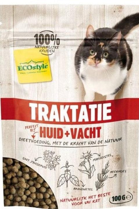 Ecostyle huid en vacht traktatie - kattensnacks - 100 gr