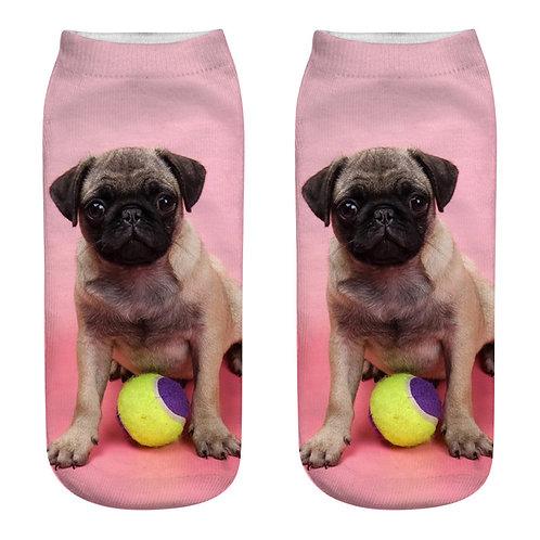 Mops met bal print sokken