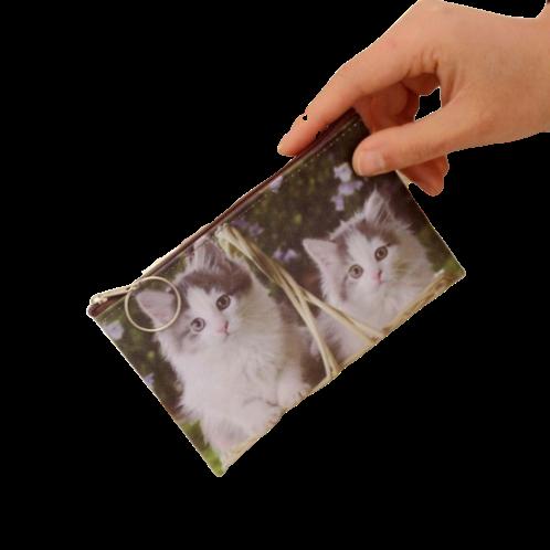 Kat print munten portemonnee