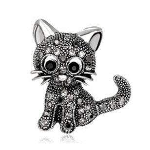Kitten broche met strass