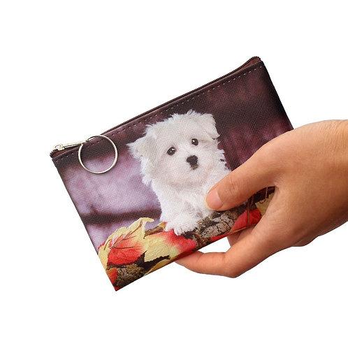 Maltezer puppy print munten portemonnee