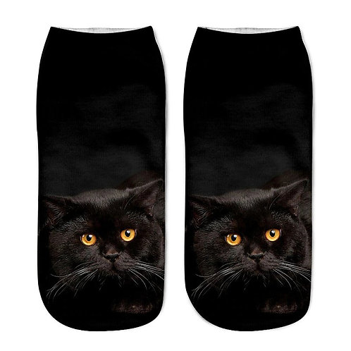 Bombay zwarte kat - print sokken