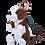 Thumbnail: Zittende hond rugzak - wit met donker bruin