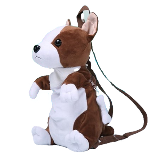 Zittende hond rugzak - wit met donker bruin