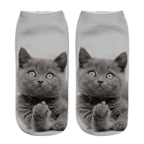 Stout kat print sokken