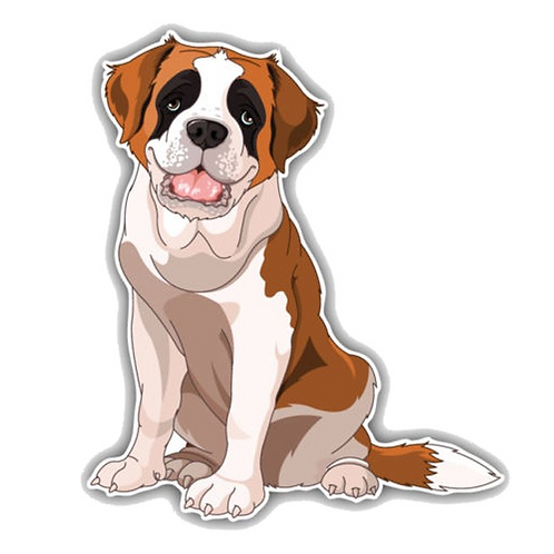 St. Bernard hond cartoon auto sticker