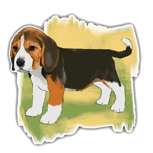 Beagle puppy aquarel auto sticker