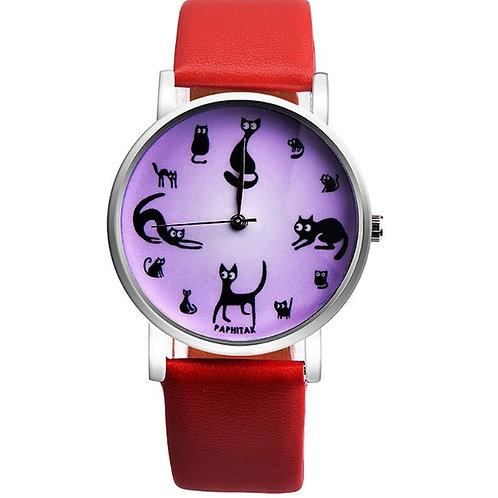 Horloge met katten afbeeldingen (silhouetten) 2