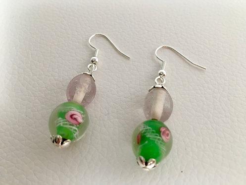 Floral Lamp Glass Earrings