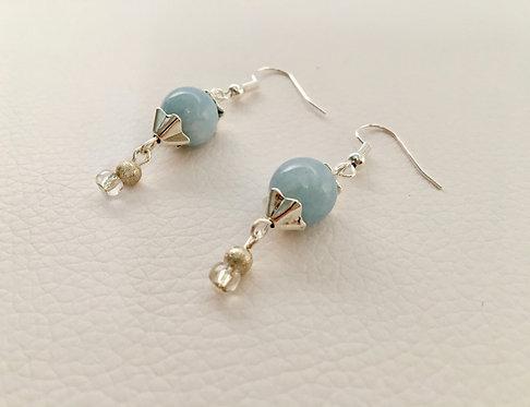 Aquamarine Blue Jade Semi-Precious Stone Earrings